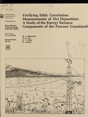 Cover of: Verifying eddy correlation measurements of dry deposition |