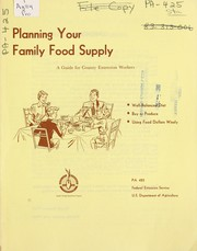 Cover of: Planning your family food supply | United States. Department of Agriculture