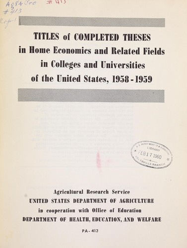 agricultural thesis titles