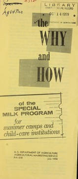 Cover of: The why and how of the special milk program