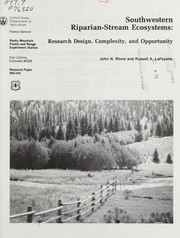 Cover of: Southwestern riparian-stream ecosystems: research design, complexity, and opportunity | J.N. Rinne