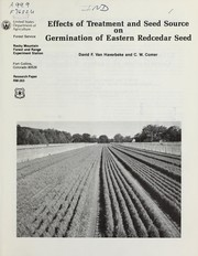 Cover of: Effects of treatment and seed source on germination of eastern redcedar seed | David F. Van Haverbeke