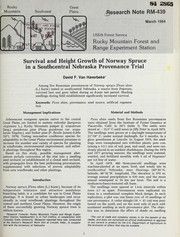 Cover of: Survival and height growth of Norway spruce in a southcentral Nebraska provenance trial | D.F. Van Haverbeke