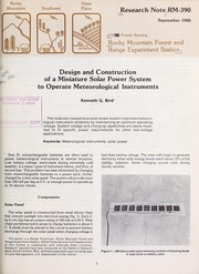 Cover of: Design and construction of a miniature solar power system to operate meteorological instruments