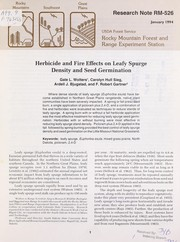 Cover of: Herbicide and fire effects on leafy spurge density and germination | G.L. Wolters