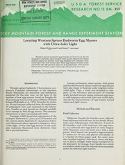 Cover of: Locating western spruce budworm egg masses with ultraviolet light | R. E. Acciavatti