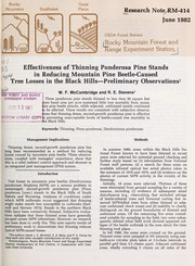 Cover of: Effectiveness of thinning ponderosa pine stands in reducing mountain pine beetle-caused tree losses in the Black Hills--preliminary observations | W.F. McCambridge