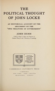 Cover of: The political thought of John Locke