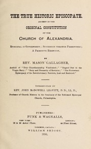 Cover of: The true historic episcopate