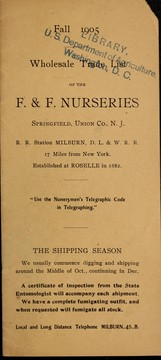 Cover of: Wholesale trade list of F. & F. Nurseries | F. & F.  Nurseries (NJ)