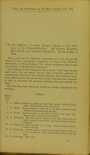 Cover of: On the influence of certain natural agents on the virulence of the tubercle-bacillus | Arthur Ransome