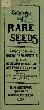 Cover of: Catalogue of rare seeds | D.M. Andrews (Firm)