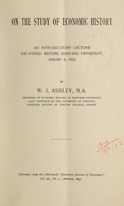 Cover of: On the study of economic history