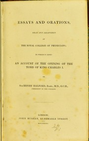 Cover of: Essays and orations, read and delivered at the Royal College of Physicians