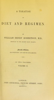 Cover of: A treatise on diet and regimen