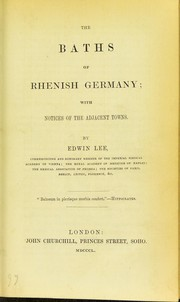 Cover of: The baths of Rhenish Germany | Lee, Edwin