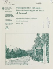 Cover of: Management of subalpine forests |
