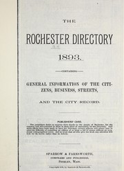 Cover of: Rochester [New Hampshire] directory, 1893 |