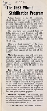 Cover of: The 1963 wheat stabilization program | United States. Department of Agriculture