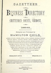 Cover of: Gazetteer and business directory of Chittenden County, Vermont, for 1882-83