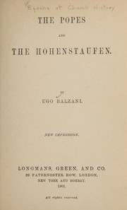 Cover of: The popes and the Hohenstaufen | Balzani, Ugo conte