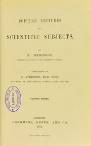 Cover of: Popular lectures on scientific subjects. Second series