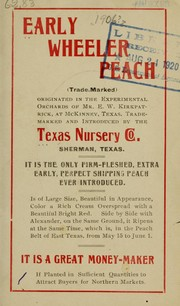Cover of: Early Wheeler peach | Texas Nursery Company (Sherman, Tex.)