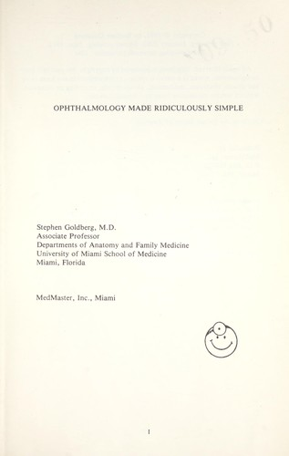 Ophthalmology Made Ridiculously Simple 1987 Edition Open Library
