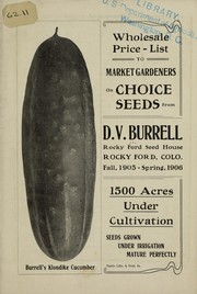 Cover of: Wholesale price-list on choice seeds to market gardeners | D.V. Burrell (Firm)