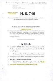 Cover of: A bill to amend title XVIII of the Social Security Act to provide for home health case manager services under the Medicare program