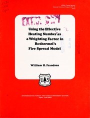 Cover of: Using the effective heating number as a weighting factor in Rothermel
