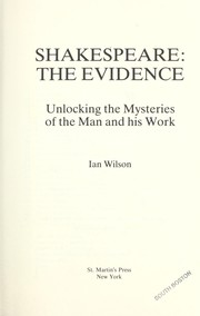 Cover of: Shakespeare; the evidence