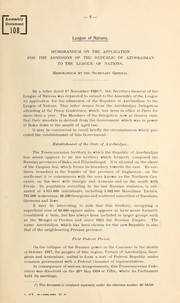 Cover of: Admission of Azerbaidjan to the League of Nations | League of Nations. Secretary-General