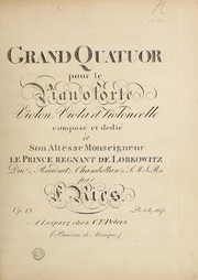 Cover of: Piano quartets I.