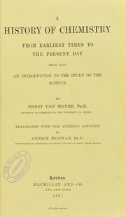 Cover of: A history of chemistry from earliest times to the present day : being also an introduction to the study of the science
