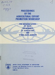 Proceedings of the Agricultural Export Promotion Workshop for representatives of state departments of agriculture and other state agencies