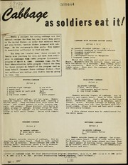 Cover of: Cabbage as soldiers eat it! | United States. War Food Administration. Office of Distribution