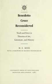 Cover of: Benedetto Croce reconsidered