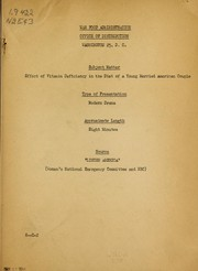 Cover of: Effect of vitamin deficiency in the diet of a young married American couple ... modern drama | United States. War Food Administration. Office of Distribution