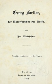 Cover of: Georg Forster, der Naturforscher des Volks