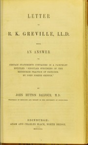 "Cover of: Letter to R.K. Greville, LL.D : being an answer to certain statements contained in a pamphlet entitled ""Singular specimens of the Edinburgh practice of criticism, by John Joseph Griffin"""