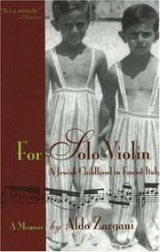 Cover of: For Solo Violin | Aldo Zargani