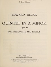 Cover of: Quintet in A minor, opus 84, for pianoforte and strings