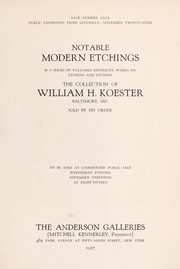 Cover of: Notable modern etchings & a series of valuable reference works on etching and etchers | Anderson Galleries, Inc