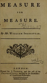 Cover of: Measure for measure | William Shakespeare