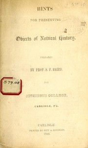 Cover of: Hints for preserving objects of natural history