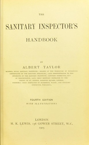 The sanitary inspector's handbook by Albert Taylor