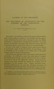 Cover of: The influence of anaesthesia on the surgery of the nineteenth century