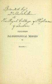 Cover of: Paleontological memoirs and notes, with a biographical sketch of the author