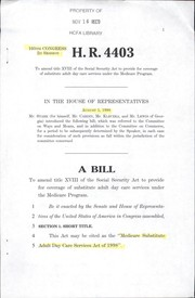 Cover of: A bill to amend title XVIII of the Social Security Act to provide for coverage of substitute adult day care services under the Medicare program